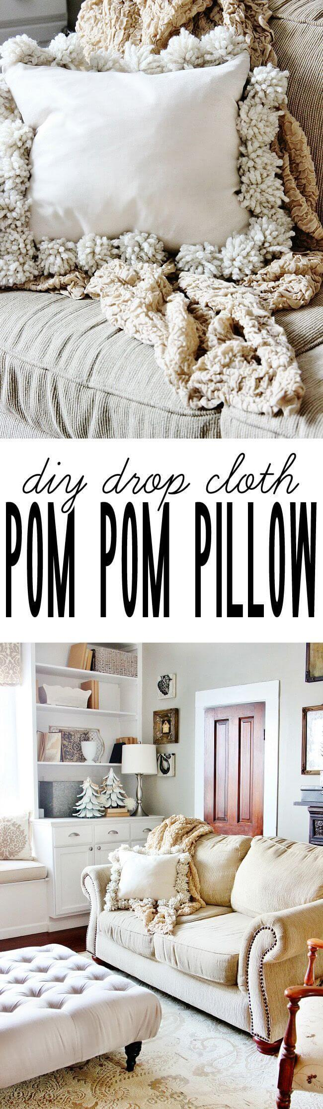 Shabby Chic Drop Cloth Pom Throw Pillow