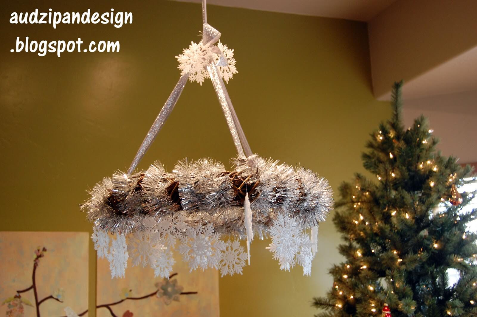 Celestial Snowflakes Hanging Grapevine Chandelier