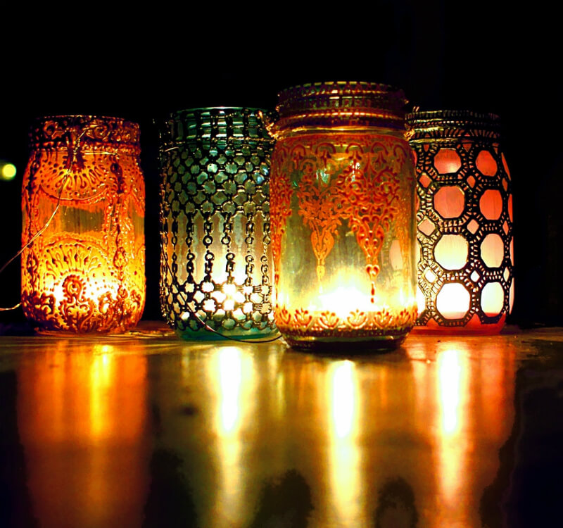 Moroccan Inspired Copper Filigree Mason Jar Lantern
