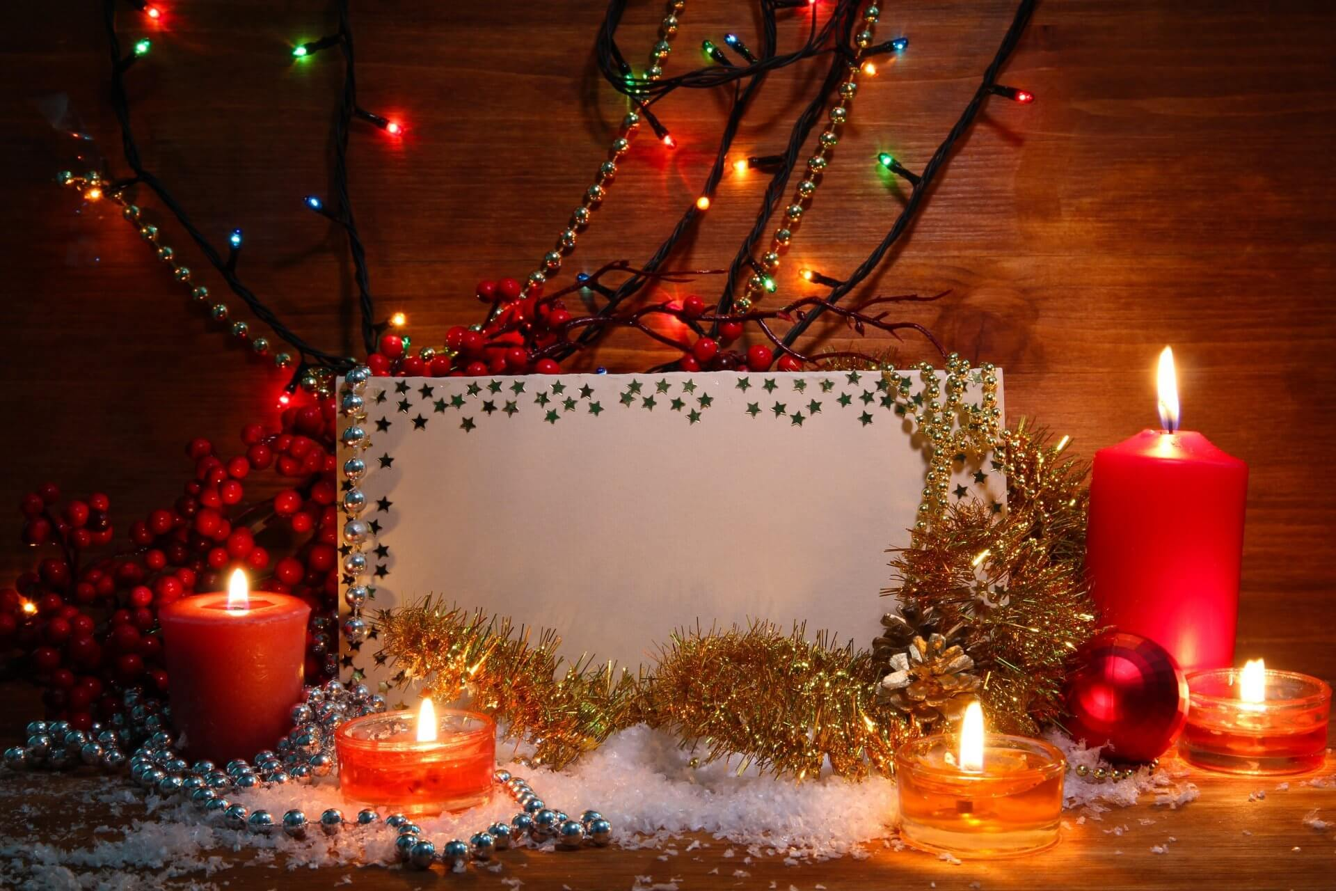 Candles, Beads, and Christmas Lights Place Card