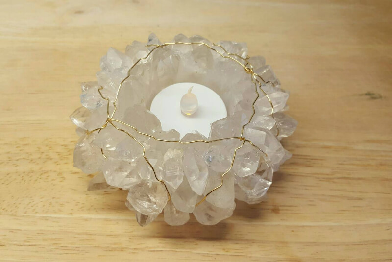 Brass Wrapped Raw Quartz Candle Holder