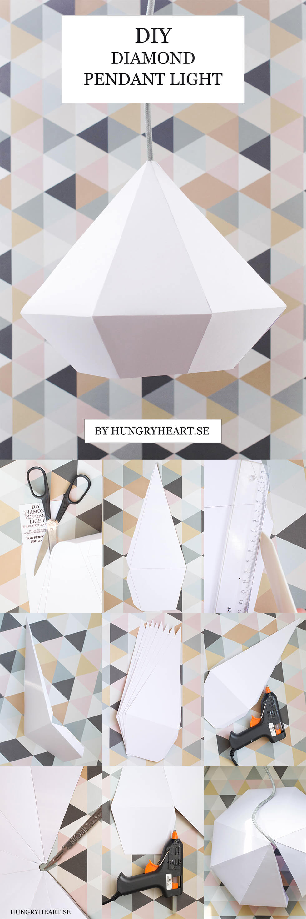 DIY Diamond Paper Pendant Light