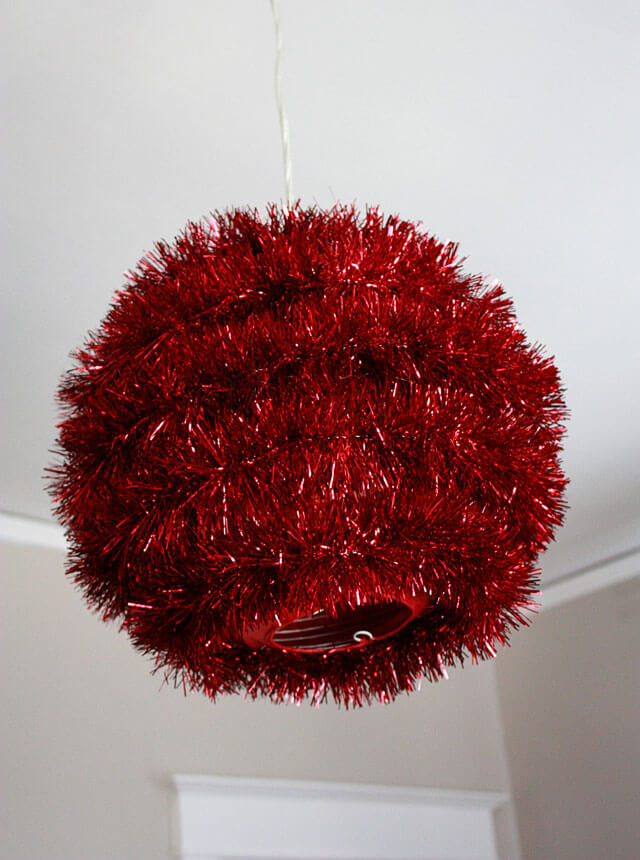 Christmas Edition Red Tinsel Disco Ball