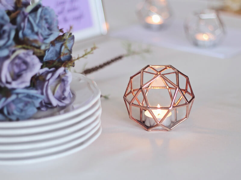 Faceted Copper and Glass Polyhedron