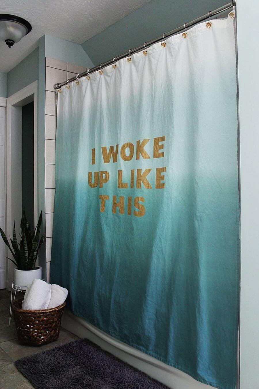 DIY Ombre and Glitter Quote Shower Curtain