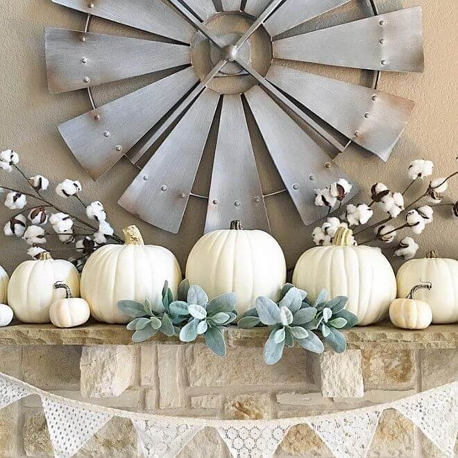 Raw Cotton, White Pumpkins and Steel Windmill
