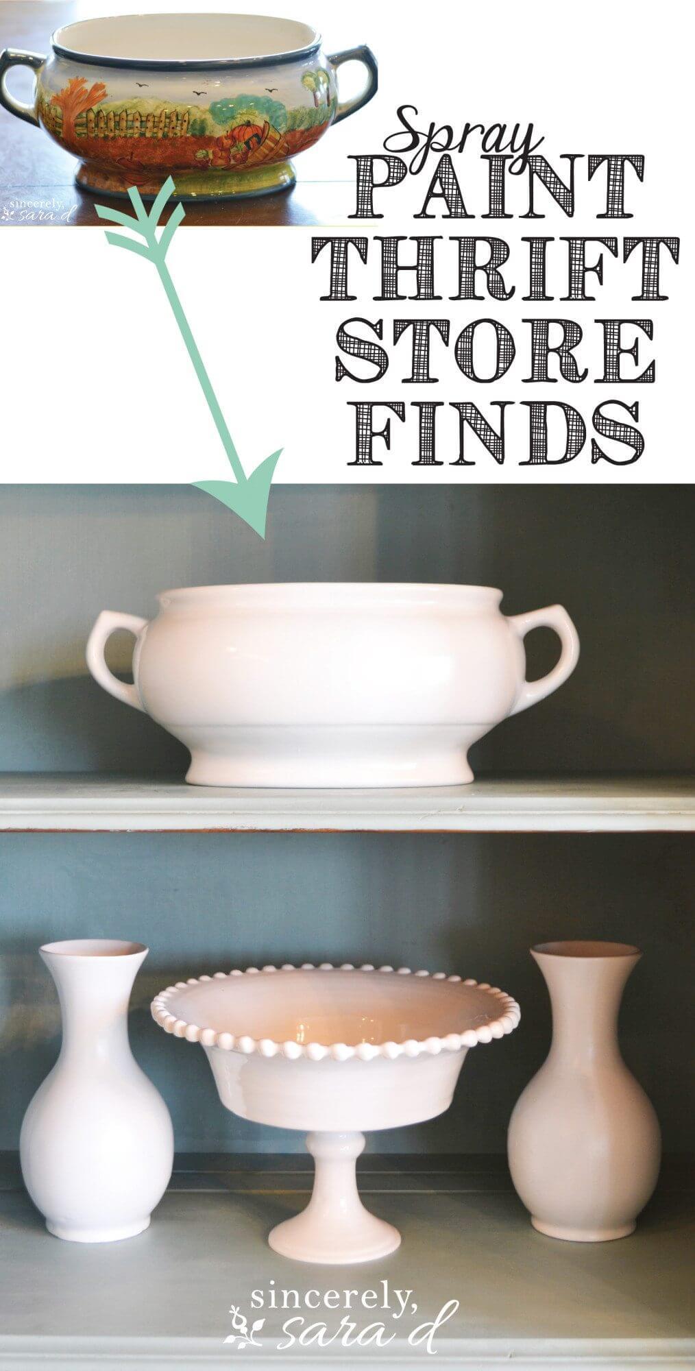 Instant Makeover for Garage Sale Ceramics