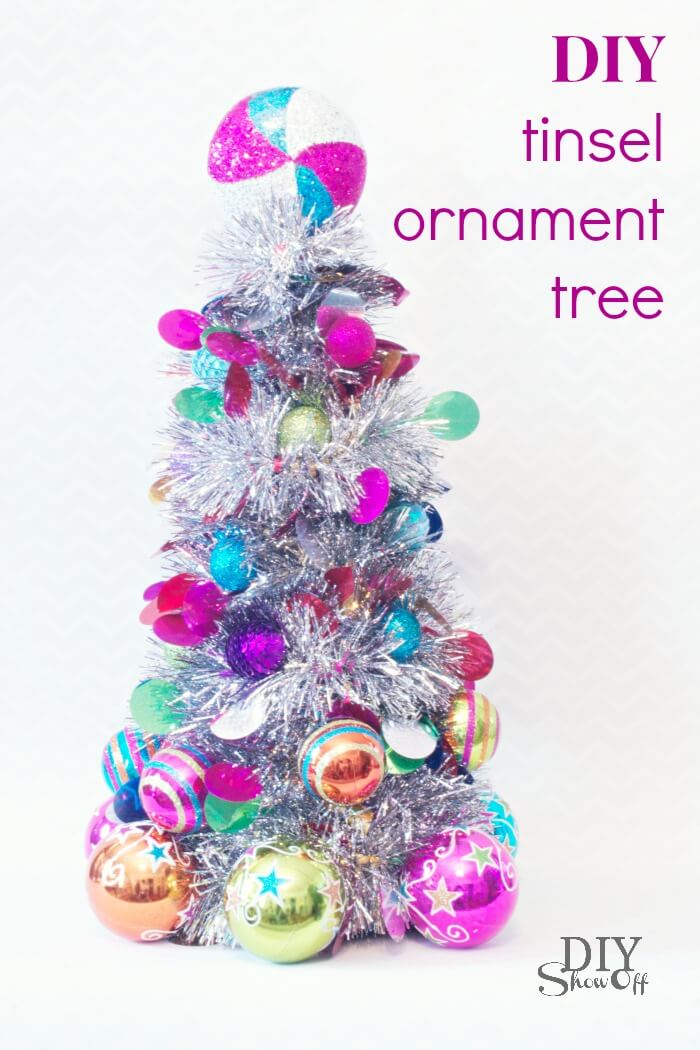 DIY Shiny Brite Inspired Ornament Tree