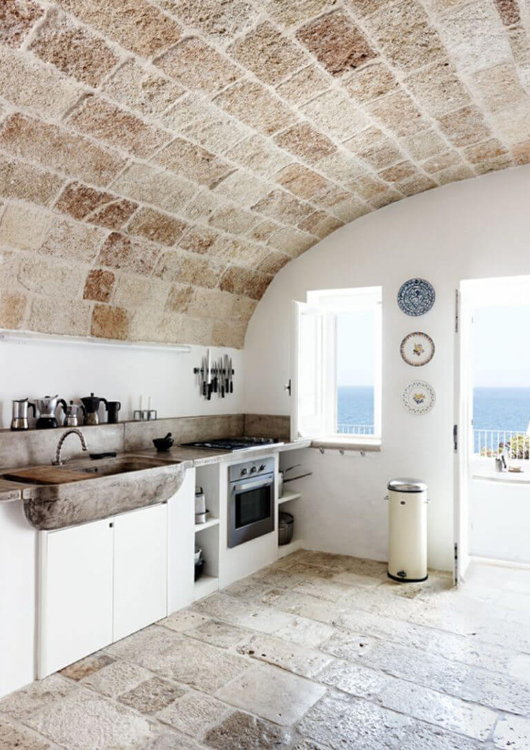 Surprisingly Airy All Stone Kitchen