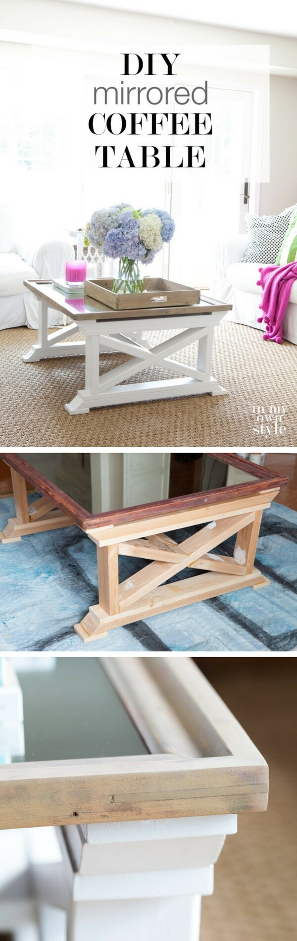 diy living room furniture. 20. Farmhouse Meets Mod Mirrored Table Diy Living Room Furniture E