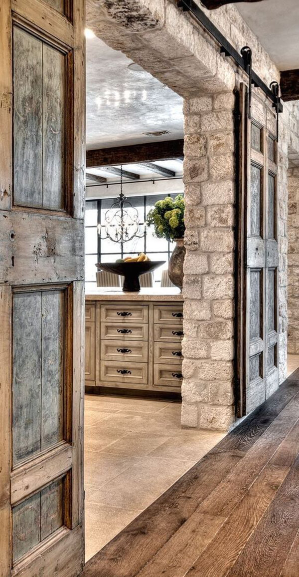 20. Pocket Doors Make Stone Feel Like Home