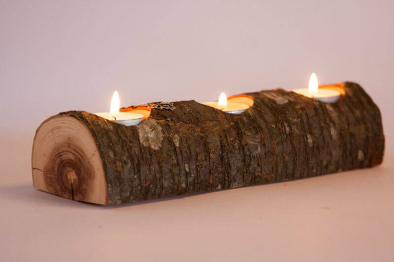 Keep the Home Fires Burning Log Candleholder