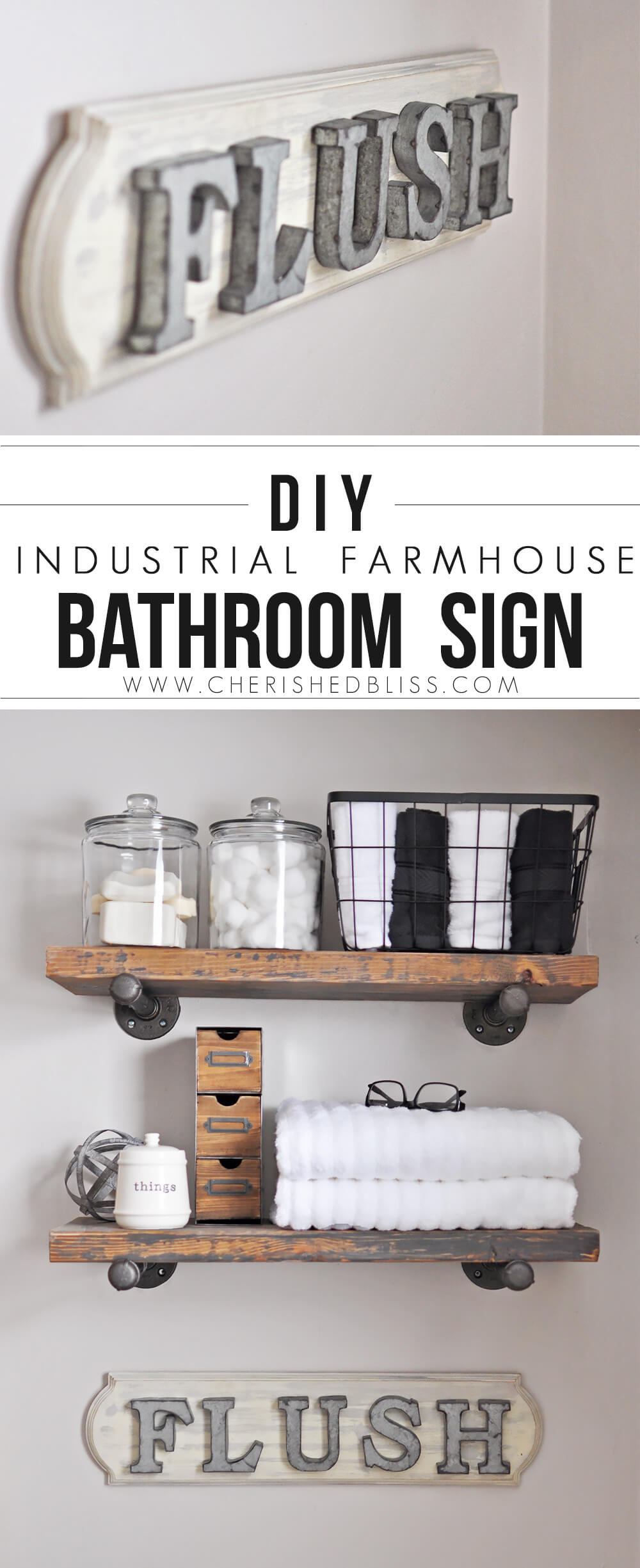 Industrial Farm House Bathroom Sign