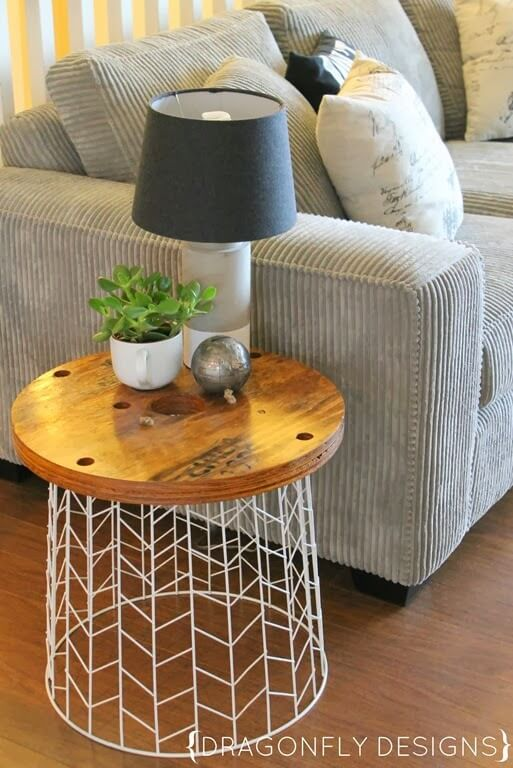 22. Easy Wire Basket Side Table Project