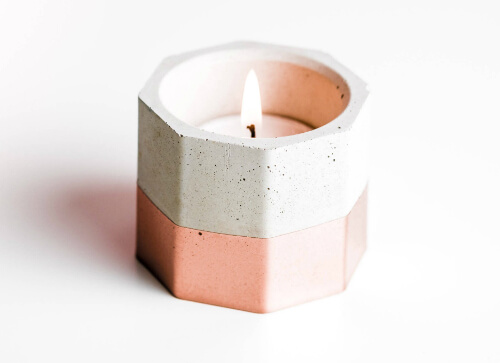 Shabby and Chic Hexagonal Concrete Candleholder