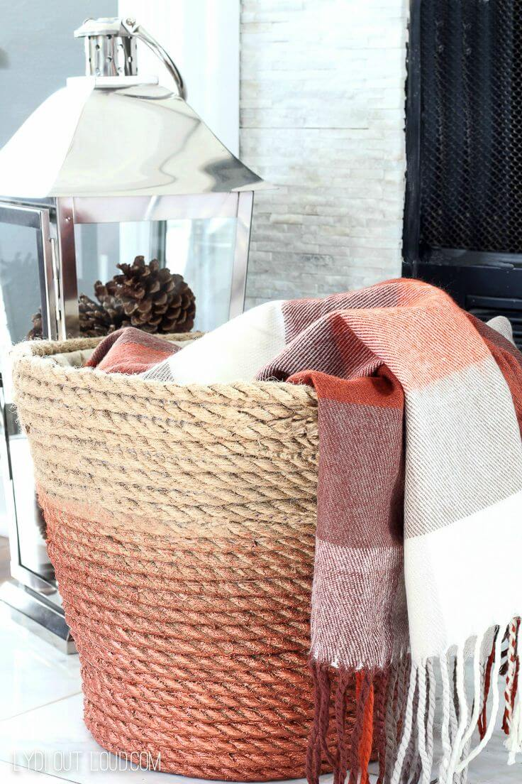 Ombre Effect Rope Blanket Basket