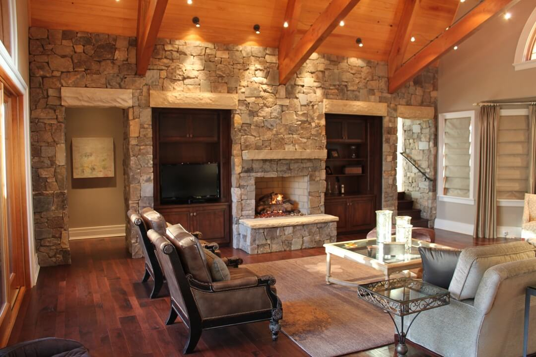 Textural Sandstone Living Room Design
