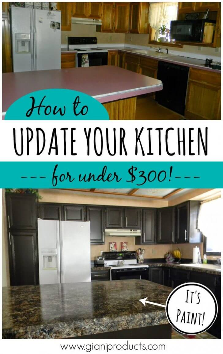 $300 Faux Marble Kitchen Makeover