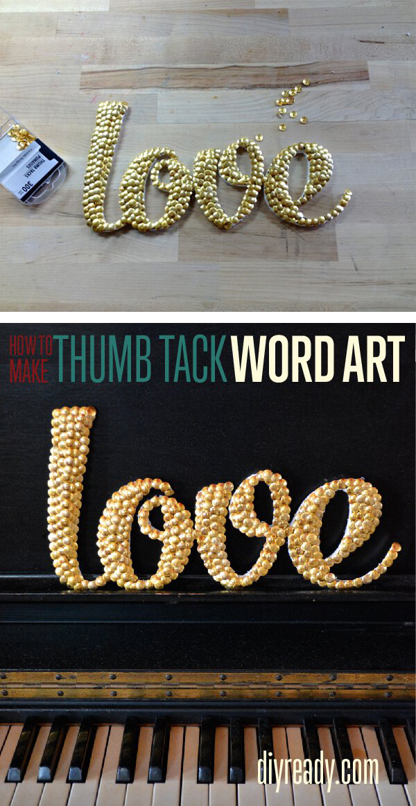 Make Easy Word Art with Thumb Tacks