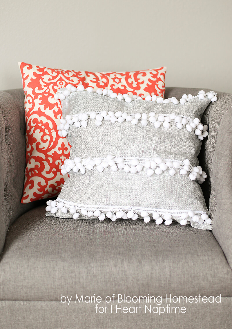 Pompom Trimmed Preppy Throw Pillows