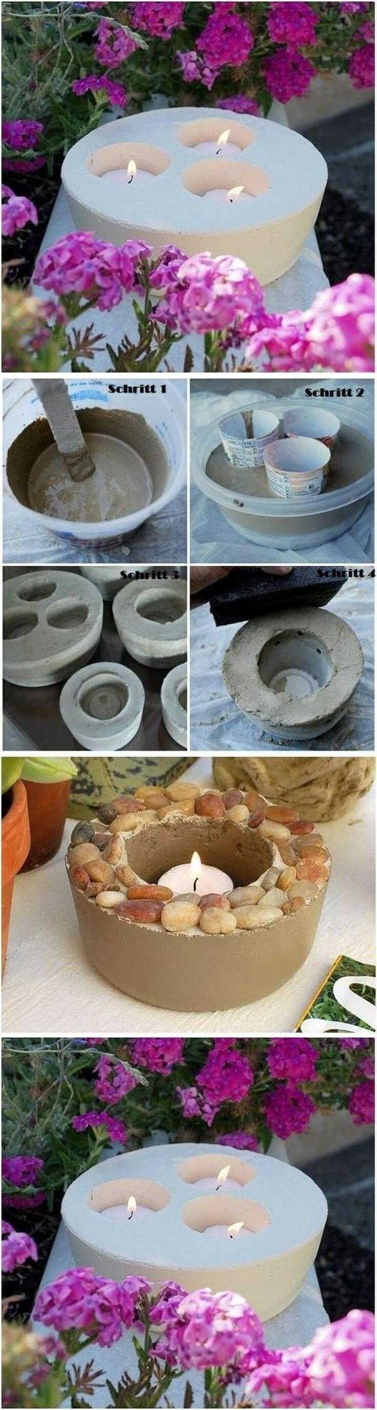 DIY Concrete Candle Motive for the Backyard