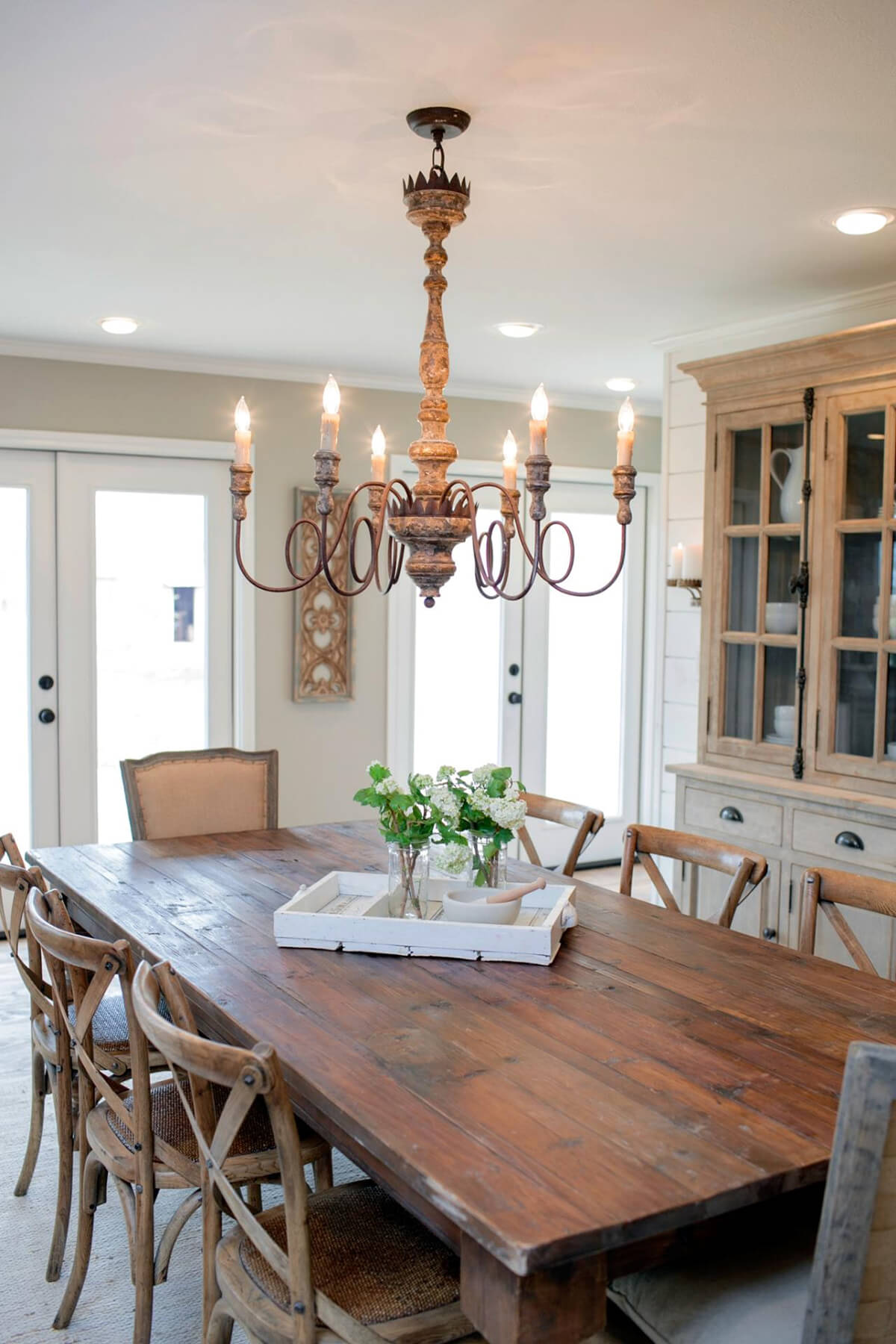 Charming weathered iron chandelier