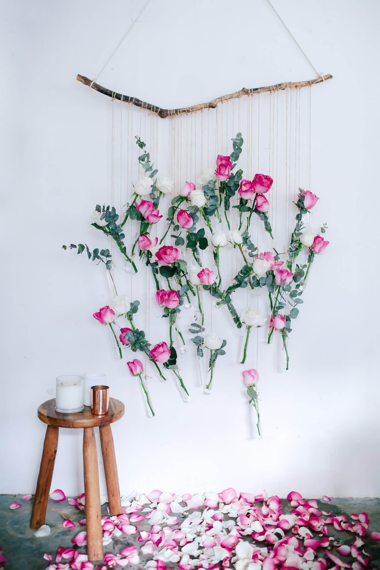 Roses and String DIY Wall Hanging