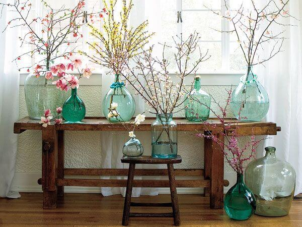 Colored Glass Bottle Flower Arrangements