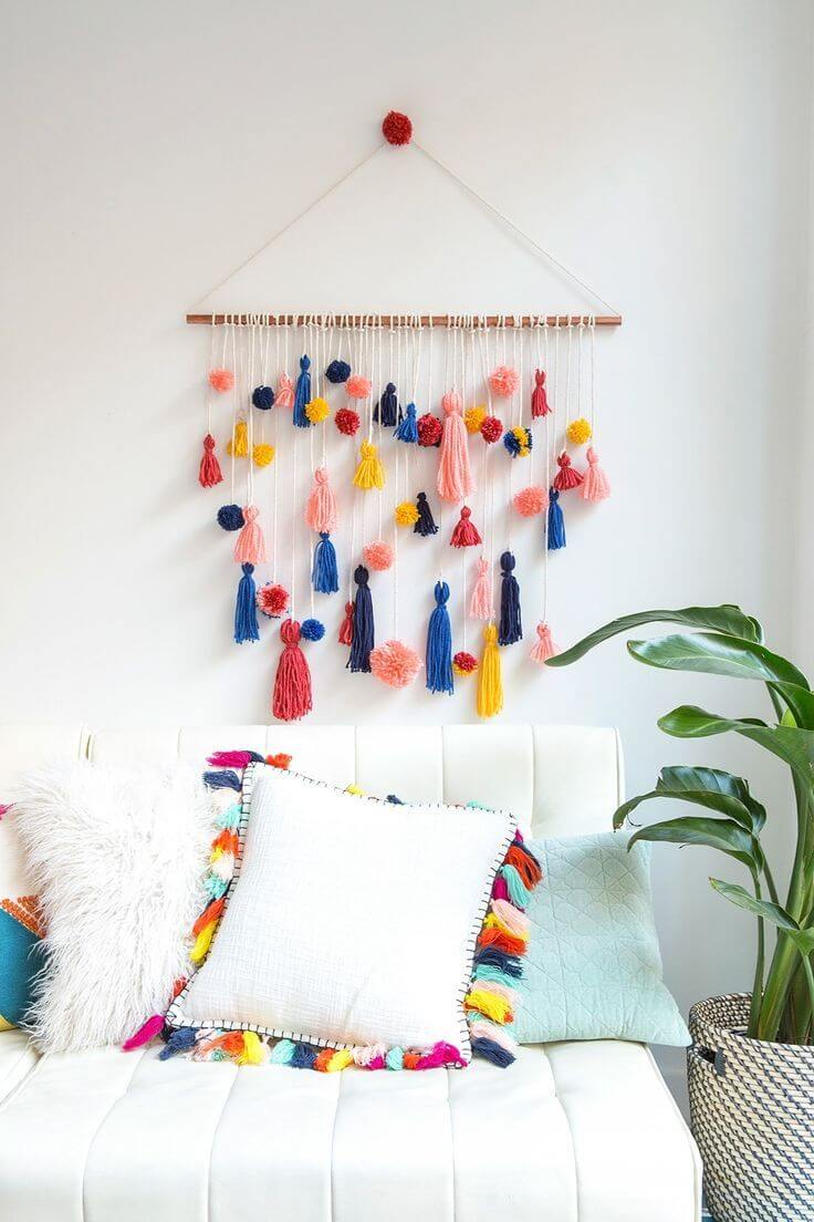 Colorful Tassel Twig and String Wall Hanging