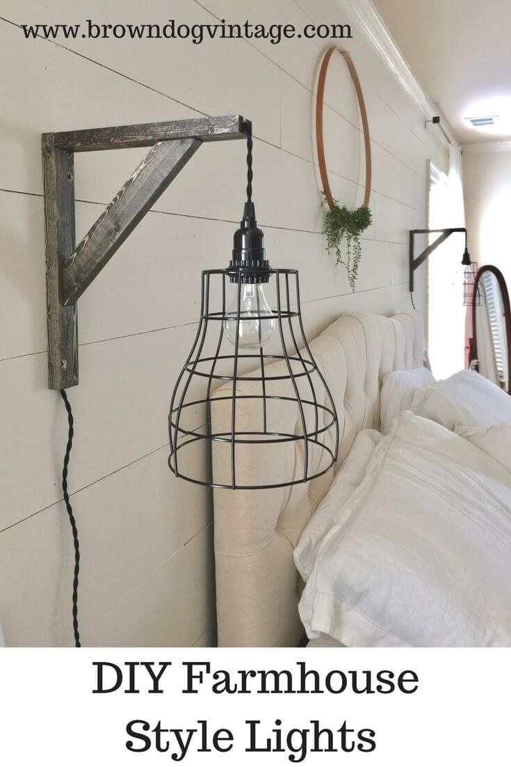 Wood Wall Sconces With Wire Cage Shades