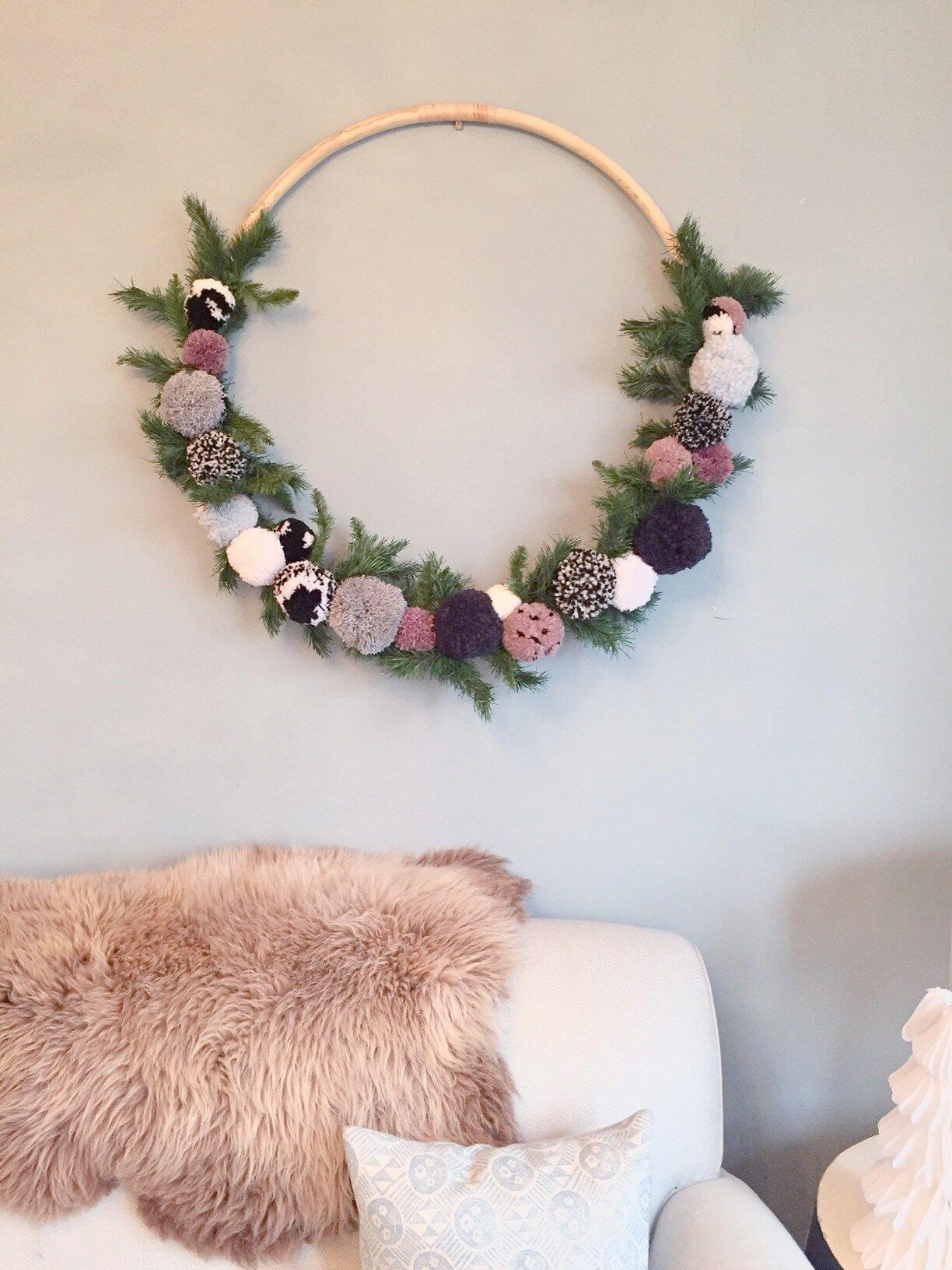 Round Floral Wall Hanging with Greenery