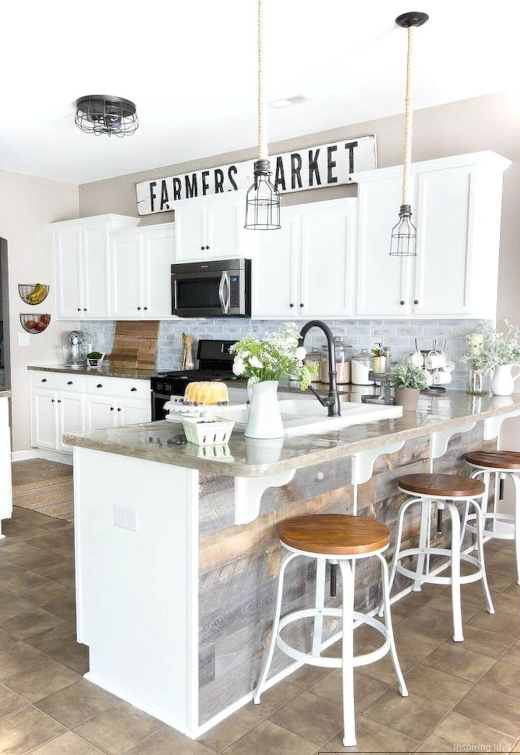 grayscale and white cabinets with black accents - White Farmhouse Kitchen