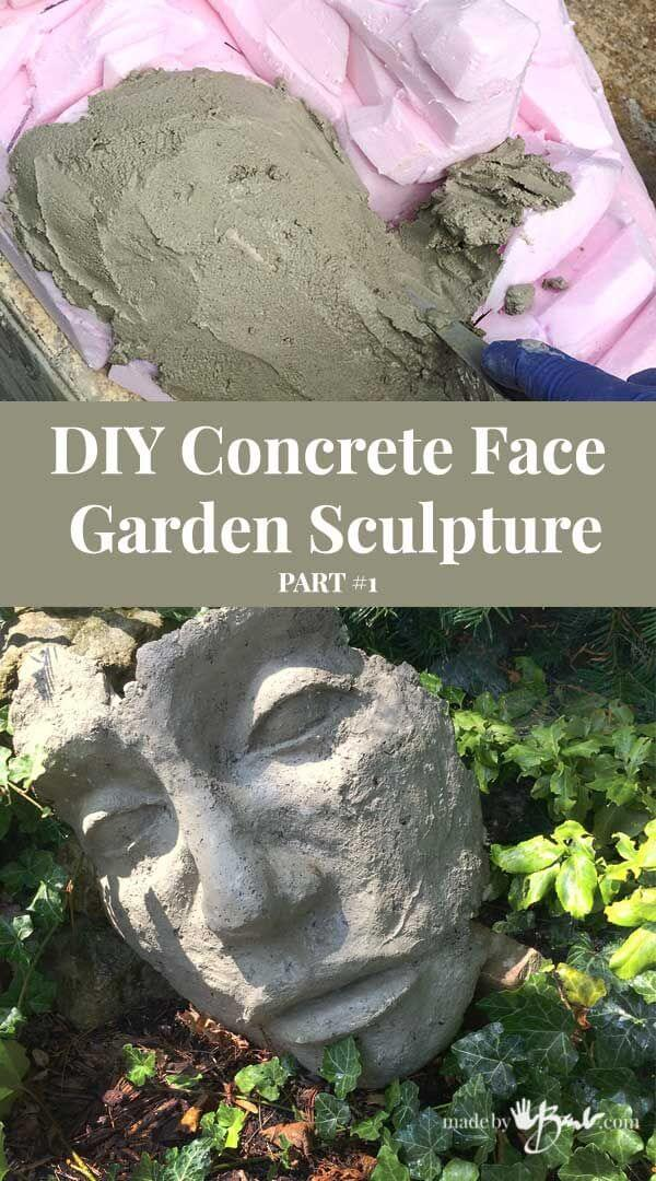 Unique Backyard Concrete Face Sculpture