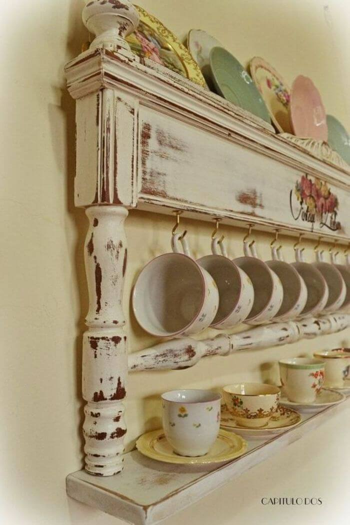 Quaint Kitchen Display Shelf With Cup Hooks