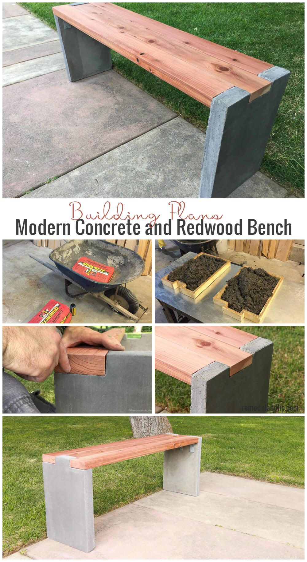 Rustic DIY Concrete Garden Bench