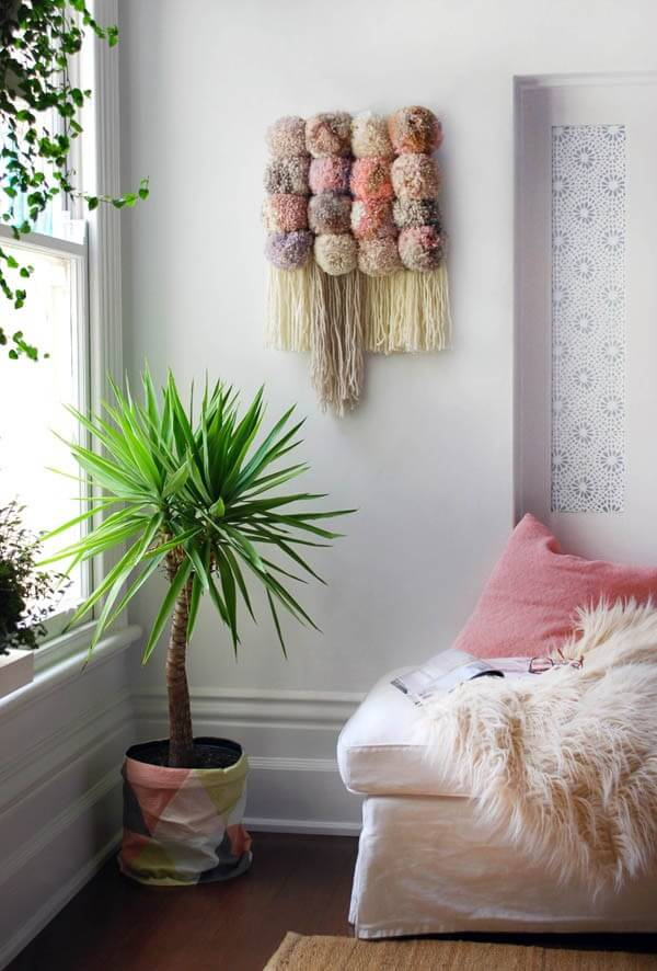 Puff Ball And Tassel Fuzzy Wall Hanging