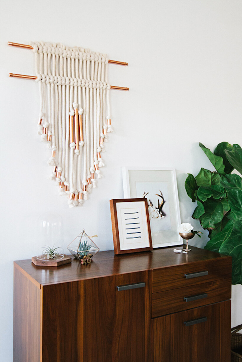 Thick Rope Wall Hanging with Brass Elements