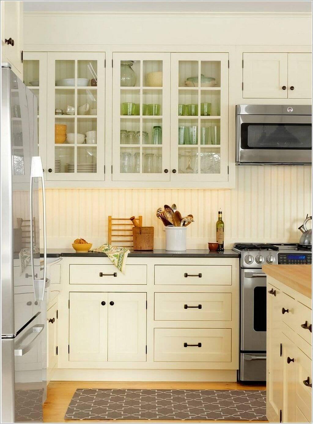 Open-Face White Paneled Kitchen Cabinets