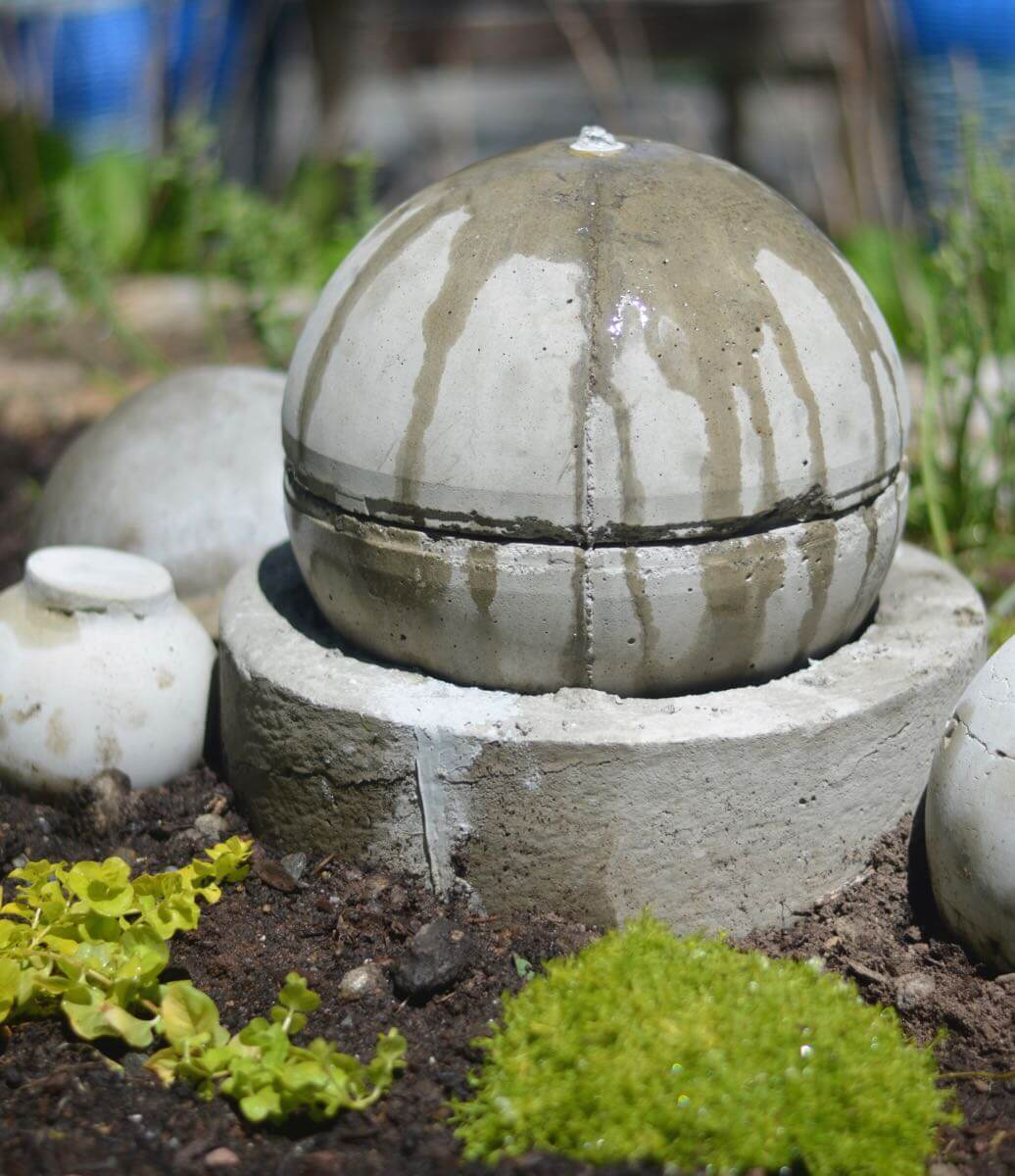 DIY Concrete Garden Holder and Globe