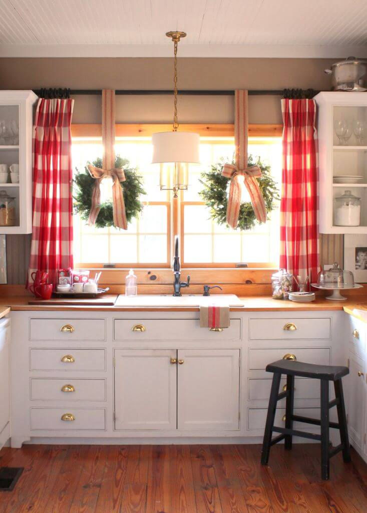 white farmhouse cabinets with gold hardware - White Farmhouse Kitchen