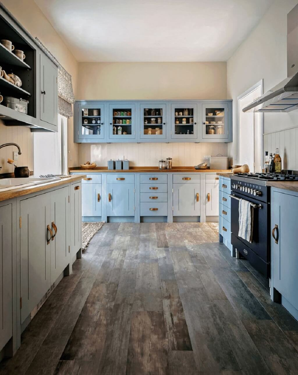 Blue Rustic Cabinets With Top Open Face