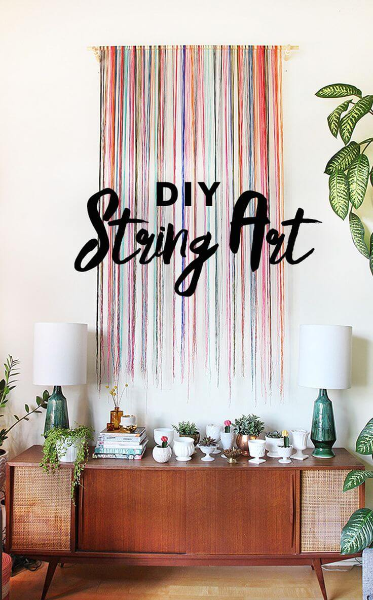 Colorful String Design Wall Hanging
