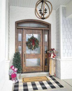 Wooden Front Door With Christmas Trees