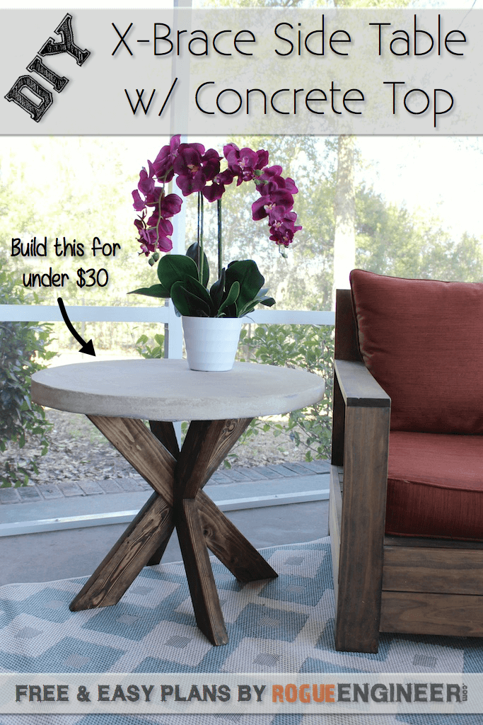 DIY X-Brace Concrete and Wood Backyard Table