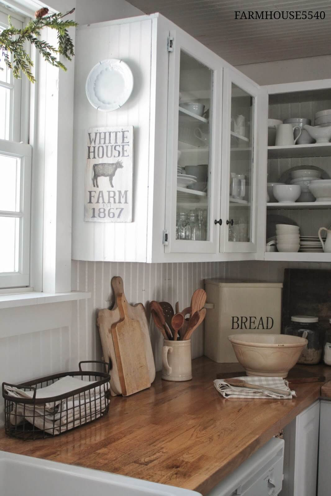 White Paneling Open Face Farmhouse Cabinets