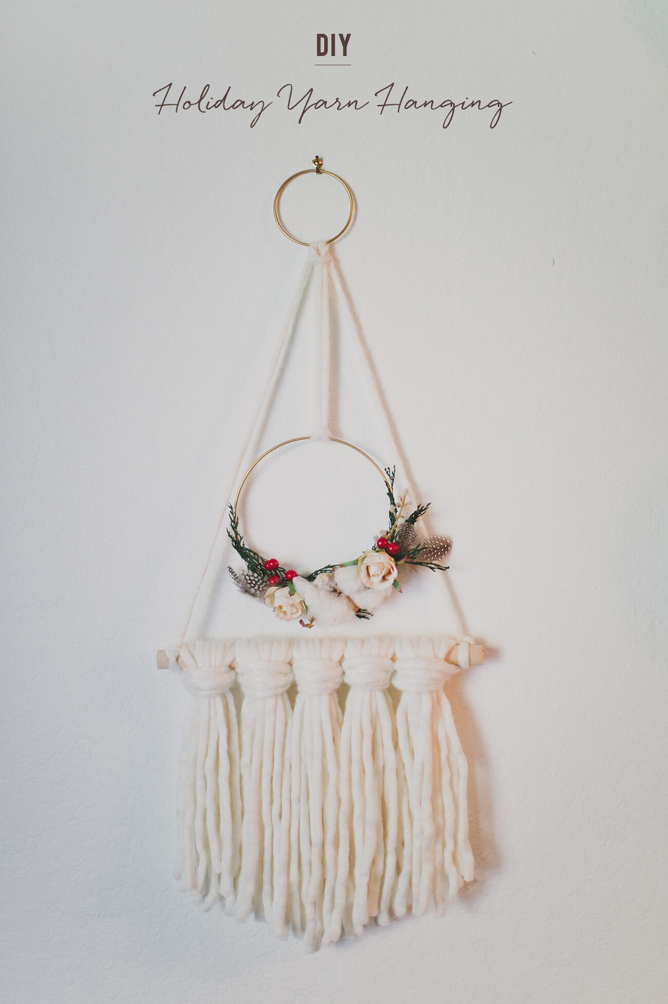 Mini Floral and Macrame Yarn Wall Hanging