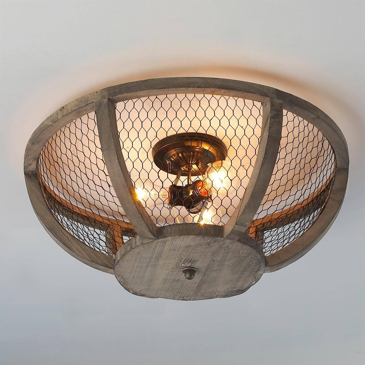 Ceiling Light Fixture With Chicken Wire Shade