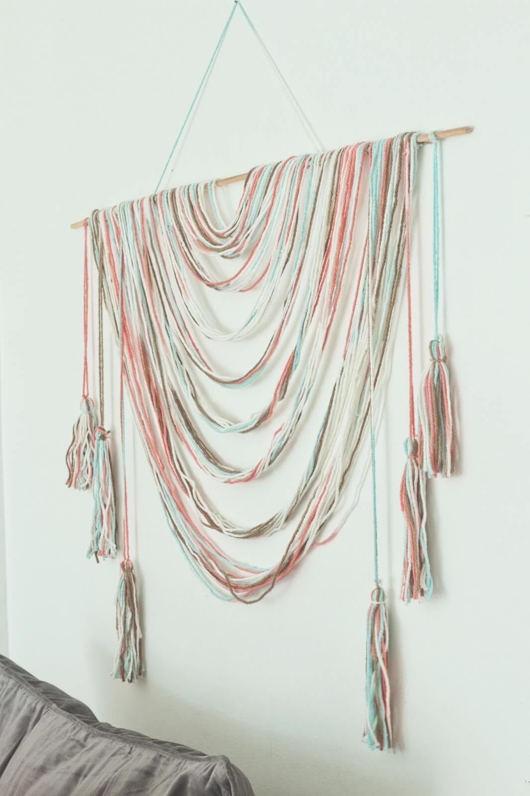 good Wall Hanging Decor Part - 10: Draped Colorful String Wall Decor