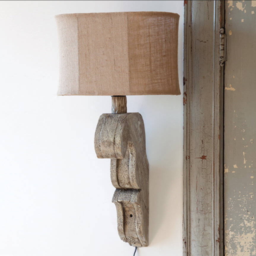 Wooden Scroll Sconce Lamp With Burlap Shade