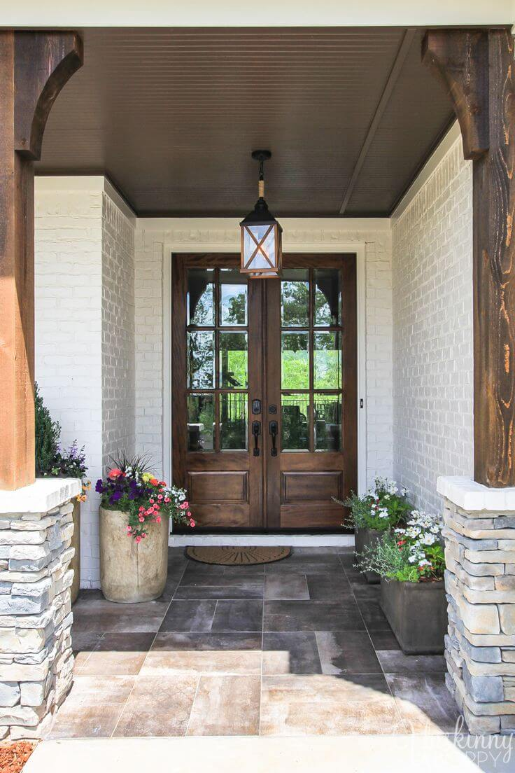 37 best farmhouse front door ideas and designs for 2018 for House plans with double front doors